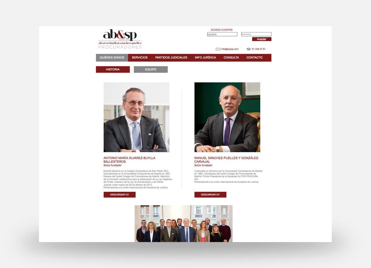 Página web de AB&SP Procuradores diseñada por Com2gether