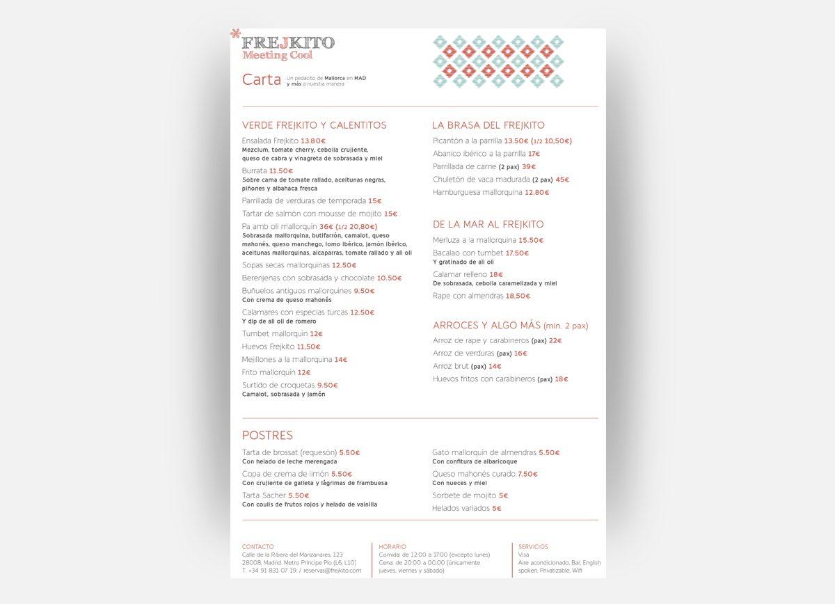 Carta del Restaurante Frejkito diseñadas por Com2gether