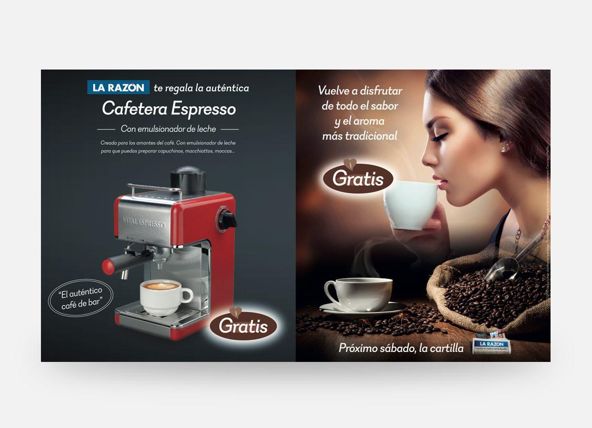 """Doble página La Razón """"Cafetera Espresso"""" by Com2gether"""