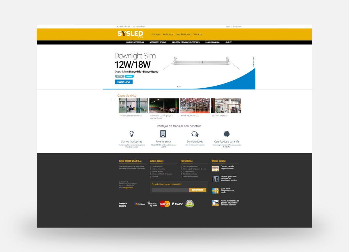 Landing de producto creada por Com2gether en la página web de Sysled España