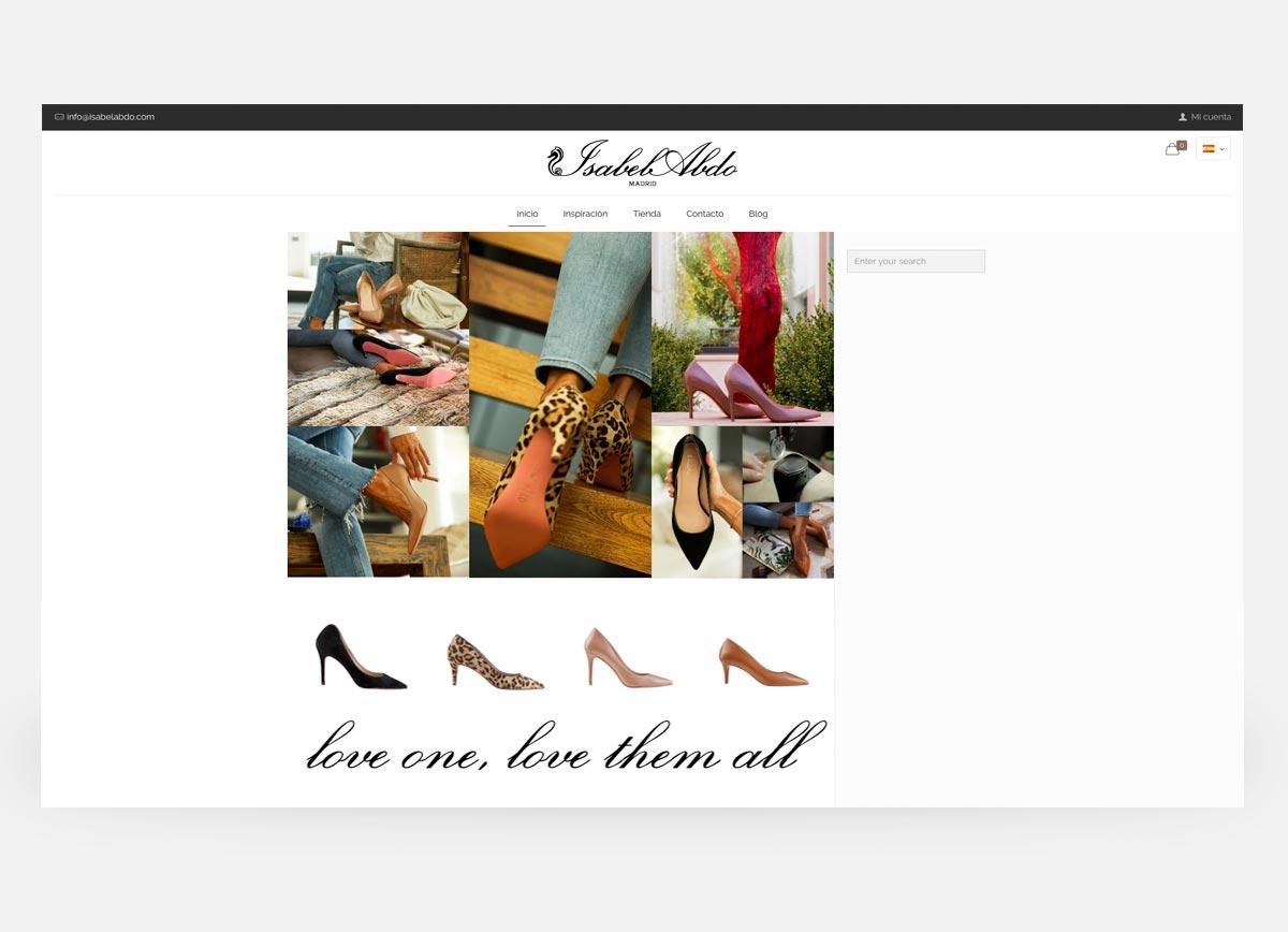Home de la página web y tienda online de la diseñadora de zapatos Isabel Abdo creada por Com2gether