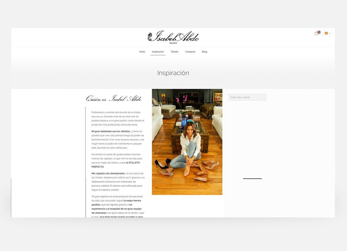 Página web y tienda online de la diseñadora de zapatos Isabel Abdo creada por Com2gether