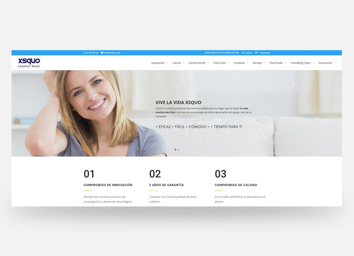 Página principal de la web y tienda online XSQUO creada por Com2gether