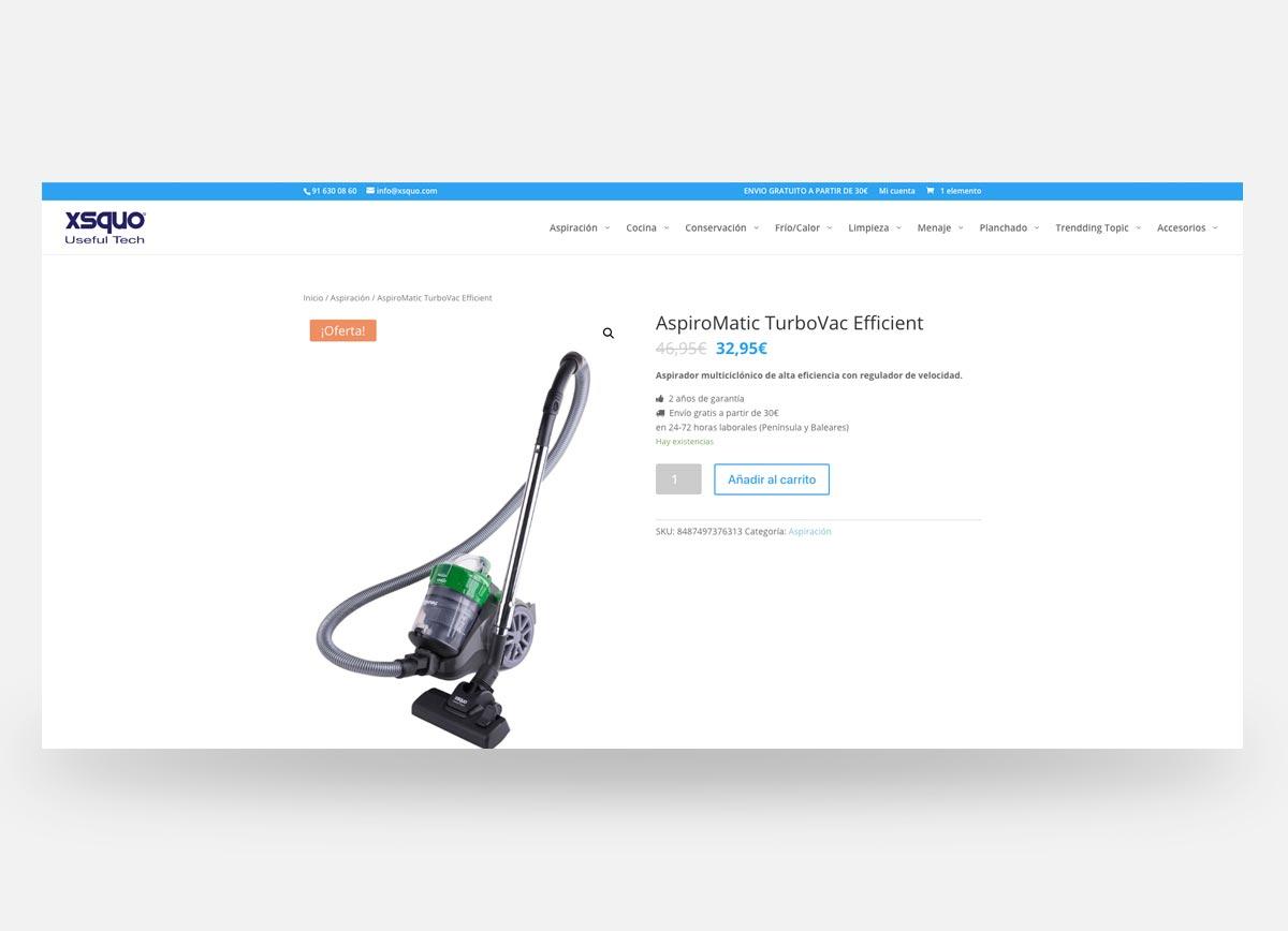 Ficha de producto de la página web y tienda online XSQUO creada por Com2gether